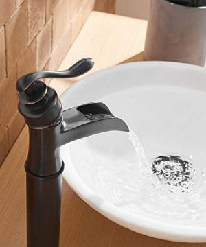 BWE Waterfall Spout Oil Rubbed Bronze Single Handle One Hole Bathroom Sink Vessel Faucet ORB Lavatory Faucets Deck Mount Tall Body Commercial 0 0 300x360
