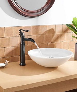 BWE Waterfall Spout Oil Rubbed Bronze Single Handle One Hole Bathroom Sink Vessel Faucet ORB Lavatory Faucets Deck Mount Tall Body Commercial 0 3 300x360