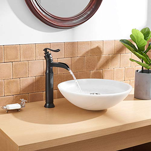 BWE Waterfall Spout Oil Rubbed Bronze Single Handle One Hole Bathroom Sink Vessel Faucet ORB Lavatory Faucets Deck Mount Tall Body Commercial 0 3