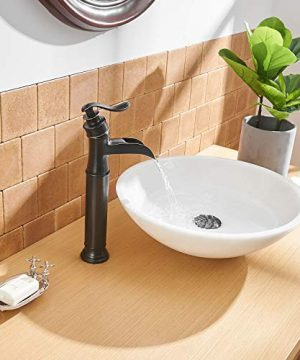 BWE Waterfall Spout Oil Rubbed Bronze Single Handle One Hole Bathroom Sink Vessel Faucet ORB Lavatory Faucets Deck Mount Tall Body Commercial 0 4 300x360