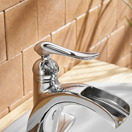 BWE Waterfall Spout Single Handle One Hole Chrome Bathroom Sink Faucet Deck Mount Lavatory Faucets Commercial 0 2