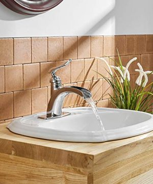 BWE Waterfall Spout Single Handle One Hole Chrome Bathroom Sink Faucet Deck Mount Lavatory Faucets Commercial 0 3 300x360