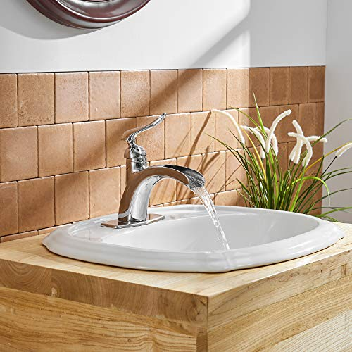 BWE Waterfall Spout Single Handle One Hole Chrome Bathroom Sink Faucet Deck Mount Lavatory Faucets Commercial 0 3