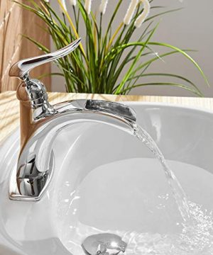 BWE Waterfall Spout Single Handle One Hole Chrome Bathroom Sink Faucet Deck Mount Lavatory Faucets Commercial 0 4 300x360