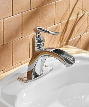 BWE Waterfall Spout Single Handle One Hole Chrome Bathroom Sink Faucet Deck Mount Lavatory Faucets Commercial 0 5 300x360