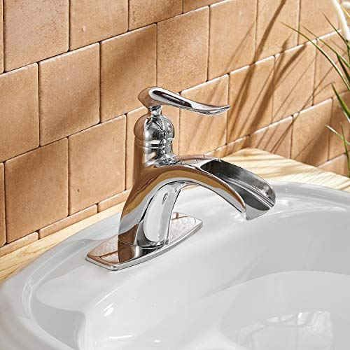 BWE Waterfall Spout Single Handle One Hole Chrome Bathroom Sink Faucet Deck Mount Lavatory Faucets Commercial 0 5