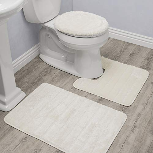 Baltic Linen Bellados Luxury Bath Rug 1 Mat 1 Contour 1 Universal Toilet Set Lid Cover Cream 3 Piece 0 0