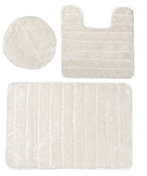 Baltic Linen Bellados Luxury Bath Rug 1 Mat 1 Contour 1 Universal Toilet Set Lid Cover Cream 3 Piece 0 300x360