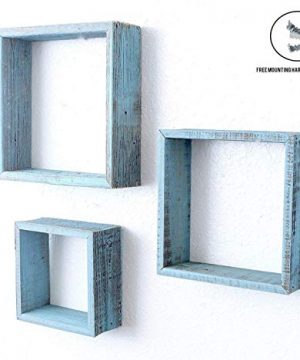 BarnwoodUSA Robins Egg Blue Rustic Shelves Square Floating Wood Shadowbox Home Decor Set Of 3 0 300x360