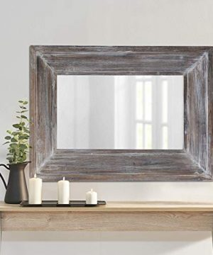 Barnyard Designs Decorative Wall Mirror Rustic Distressed Natural Wood Frame Vertical Hanging Mirror Wall Decor 36 X 24 0 300x360