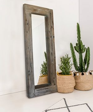 Barnyard Designs Long Decorative Wall Mirror Rustic Distressed Unfinished Wood Frame Vertical And Horizontal Hanging Mirror Wall Decor 58 X 24 0 300x360