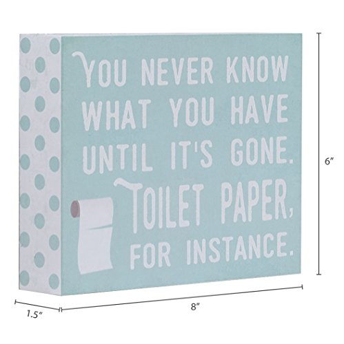 Barnyard Designs You Never Know What You Have Until Its Gone Toilet Paper Humor Box Wall Art Sign Primitive Country Farmhouse Bathroom Home Decor Sign With Sayings 8 X 6 0 2