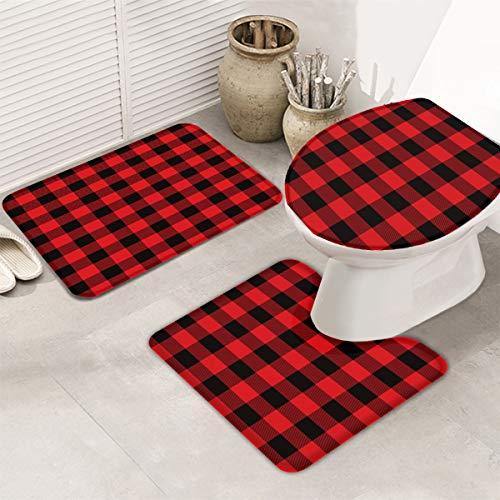 Bath Rug 3 Piece Bathroom Rugs Set 14 X 18 U Shape Contoured Toilet Mat 18 X 30 Rug 1 Lid Cover Non Slip Floor Rug For Tub Shower Red Black Buffalo Check Plaid 0 1