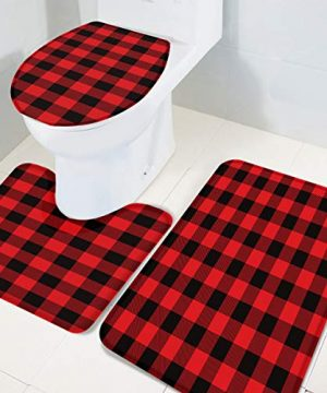 Bath Rug 3 Piece Bathroom Rugs Set 14 X 18 U Shape Contoured Toilet Mat 18 X 30 Rug 1 Lid Cover Non Slip Floor Rug For Tub Shower Red Black Buffalo Check Plaid 0 300x360
