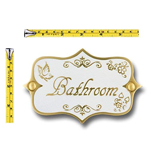 Bathroom Brass Door Sign Vintage Shabby Chic Style Home Dcor Wall Plaque Handmade By The Metal Foundry UK 0 0