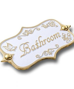 Bathroom Brass Door Sign Vintage Shabby Chic Style Home Dcor Wall Plaque Handmade By The Metal Foundry UK 0 300x360