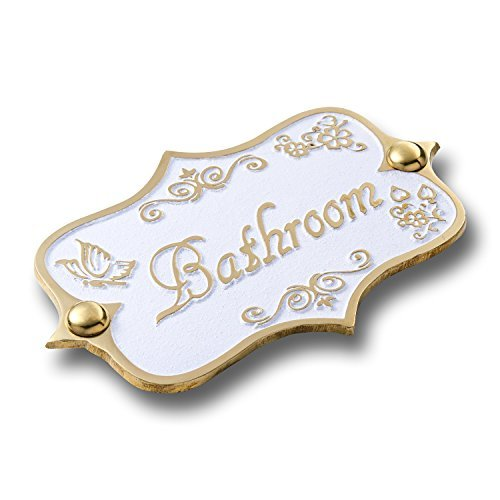 Bathroom Brass Door Sign Vintage Shabby Chic Style Home Dcor Wall Plaque Handmade By The Metal Foundry UK 0