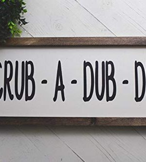 Bathroom Decor Scrub A Dub Dub Farmhouse Wood Sign 0 300x333