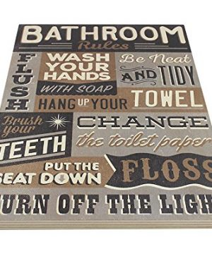 Bathroom Rules Wood Sign Vintage Or Kids Decor Thick Plaque 0 1 300x360