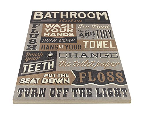 Bathroom Rules Wood Sign Vintage Or Kids Decor Thick Plaque 0 1