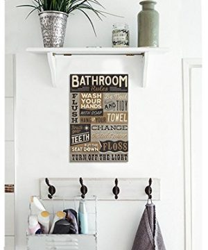 Bathroom Rules Wood Sign Vintage Or Kids Decor Thick Plaque 0 2 300x360
