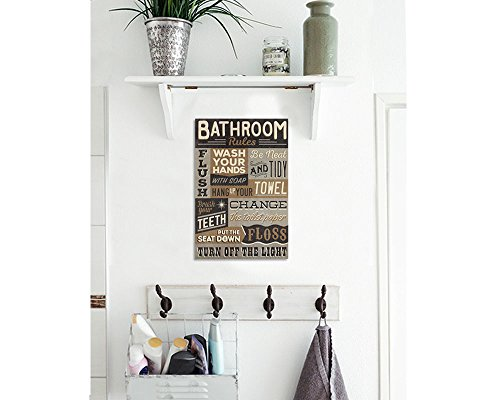 Bathroom Rules Wood Sign Vintage Or Kids Decor Thick Plaque 0 2
