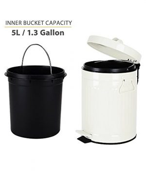 bathroom trash can with lid, small white waste basket for