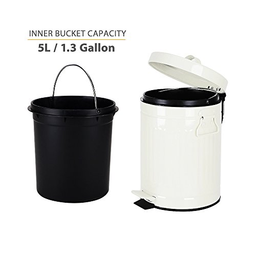 Bathroom Trash Can With Lid Small White Waste Basket For Home Bedroom Retro Step Garbage Can With Soft Close Vintage Office Trash Can 5 Liter 13 Gallon Glossy White 0 1