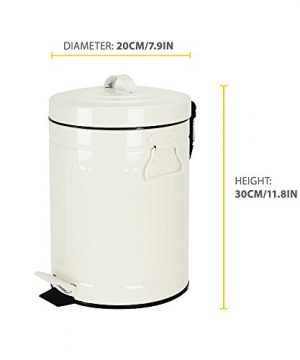 Bathroom Trash Can With Lid Small White Waste Basket For Home Bedroom Retro Step Garbage Can With Soft Close Vintage Office Trash Can 5 Liter 13 Gallon Glossy White 0 2 300x360
