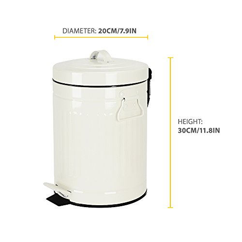Bathroom Trash Can With Lid Small White Waste Basket For Home Bedroom Retro Step Garbage Can With Soft Close Vintage Office Trash Can 5 Liter 13 Gallon Glossy White 0 2