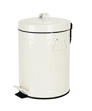Bathroom Trash Can With Lid Small White Waste Basket For Home Bedroom Retro Step Garbage Can With Soft Close Vintage Office Trash Can 5 Liter 13 Gallon Glossy White 0 300x360