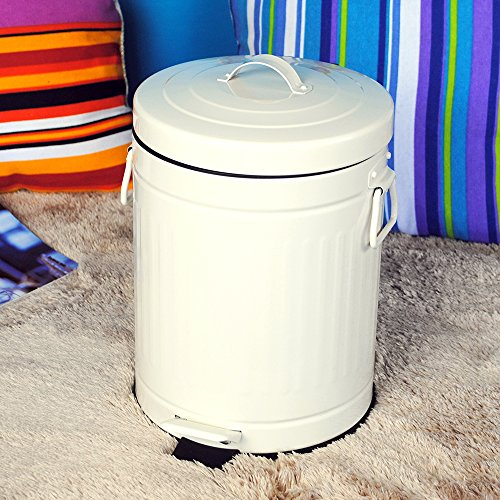 Bathroom Trash Can With Lid Small White Waste Basket For Home Bedroom Retro Step Garbage Can With Soft Close Vintage Farmhouse Goals
