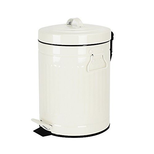 Bathroom Trash Can With Lid Small White Waste Basket For Home Bedroom Retro Step Garbage Can With Soft Close Vintage Office Trash Can 5 Liter 13 Gallon Glossy White 0