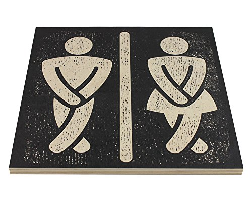 Bathroom Wall Art Funny Wood Sign For Mens And Womens Unisex Door Or Decoration 0 0