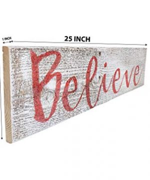 Believe Rustic Farmhouse Decor Sign 100 Reclaimed Wood Weathered Barn Wood Fixer Upper StyleWhiteRed 0 0 300x360