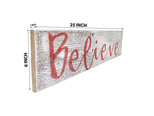 Believe Rustic Farmhouse Decor Sign 100 Reclaimed Wood Weathered Barn Wood Fixer Upper StyleWhiteRed 0 0