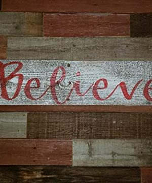 Believe Rustic Farmhouse Decor Sign 100 Reclaimed Wood Weathered Barn Wood Fixer Upper StyleWhiteRed 0 1 300x360