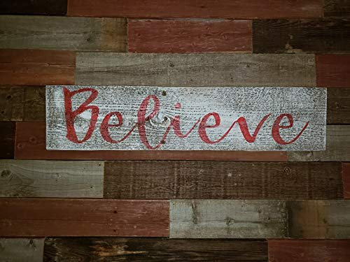 Believe Rustic Farmhouse Decor Sign 100 Reclaimed Wood Weathered Barn Wood Fixer Upper Style White Red