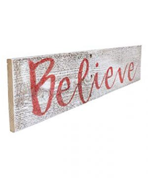 Believe Rustic Farmhouse Decor Sign 100 Reclaimed Wood Weathered Barn Wood Fixer Upper StyleWhiteRed 0 2 300x360