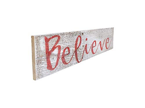Believe Rustic Farmhouse Decor Sign 100 Reclaimed Wood Weathered Barn Wood Fixer Upper StyleWhiteRed 0 2