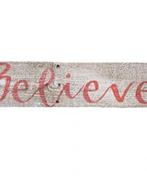 Believe Rustic Farmhouse Decor Sign 100 Reclaimed Wood Weathered Barn Wood Fixer Upper StyleWhiteRed 0 300x360