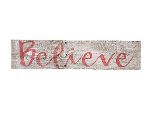 Believe Rustic Farmhouse Decor Sign 100 Reclaimed Wood Weathered Barn Wood Fixer Upper StyleWhiteRed 0