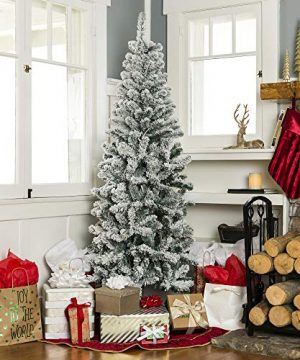 Best Choice Products 6 Foot Snow Flocked Artificial Pencil Christmas Tree Holiday Decoration WMetal Stand Green 0 0 300x360
