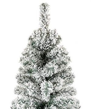 Best Choice Products 6 Foot Snow Flocked Artificial Pencil Christmas Tree Holiday Decoration WMetal Stand Green 0 1 300x360