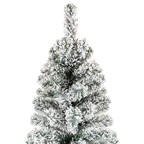 Best Choice Products 6 Foot Snow Flocked Artificial Pencil Christmas Tree Holiday Decoration WMetal Stand Green 0 1