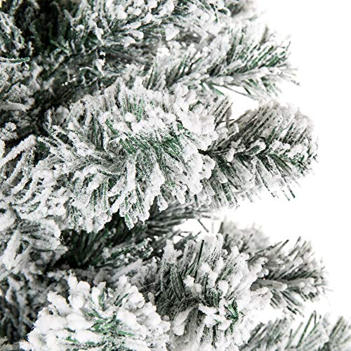 Best Choice Products 6 Foot Snow Flocked Artificial Pencil Christmas Tree Holiday Decoration WMetal Stand Green 0 2