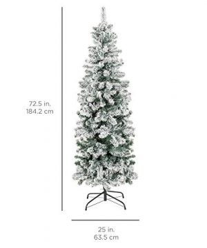 Best Choice Products 6 Foot Snow Flocked Artificial Pencil Christmas Tree Holiday Decoration WMetal Stand Green 0 4 300x360