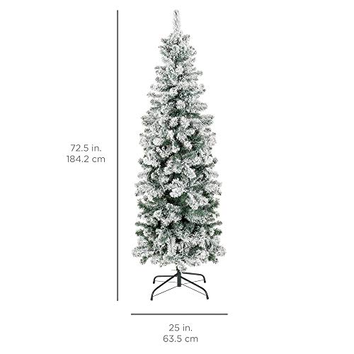 Best Choice Products 6 Foot Snow Flocked Artificial Pencil Christmas Tree Holiday Decoration WMetal Stand Green 0 4