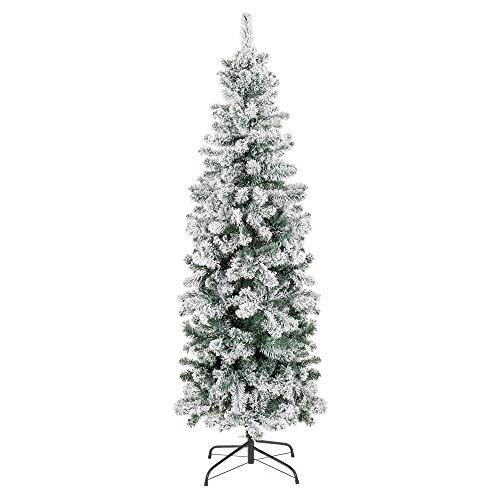 Best Choice Products 6 Foot Snow Flocked Artificial Pencil Christmas Tree Holiday Decoration WMetal Stand Green 0