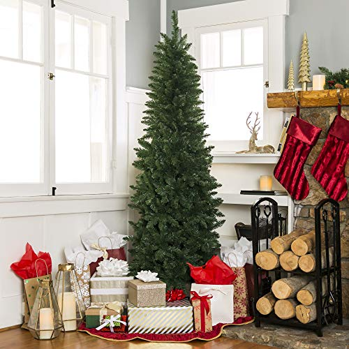Best Choice Products 75 Foot Hinged Fir Pencil Artificial Christmas Tree WMetal Foldable Stand Easy Assembly Green 0 0